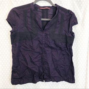 COMPTOIR DES COTONNIERS •Purple embroidered blouse